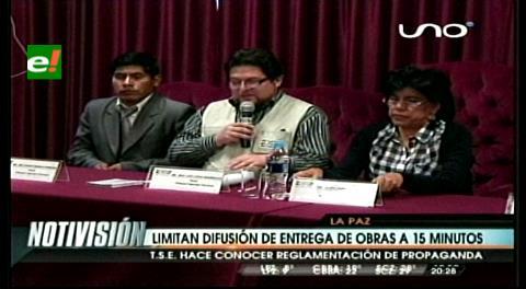 Referéndum: Tribunal Electoral limita a 15 minutos la difusión de entrega de obras