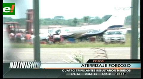 4 heridos por aterrizaje forzoso de una avioneta militar en Potosí