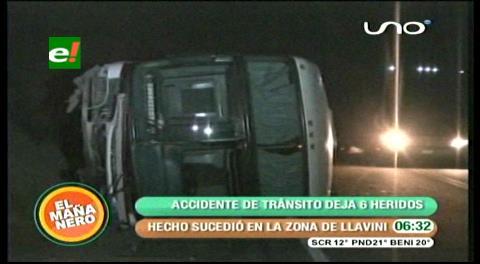 Flota Copacabana se vuelca en la carretera a Oruro