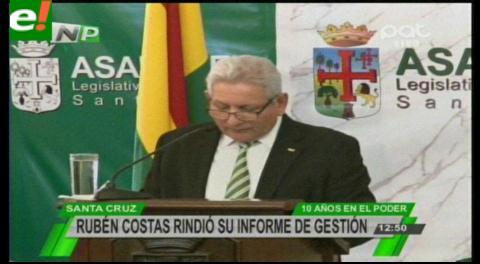 Rubén Costas informó de sus 10 años como Gobernador, destaca reducción del 15% de la pobreza