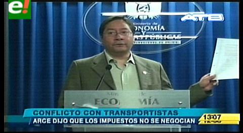 Ministro Arce: Gobierno no cederá ante demandas ambiciosas del Transporte Pesado