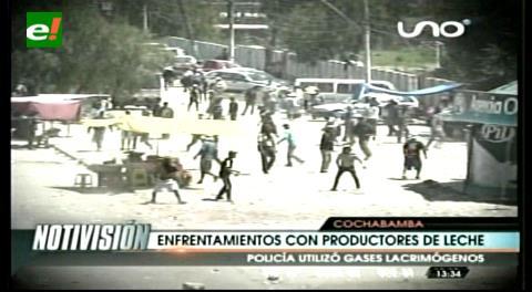 Gasifican a lecheros por protesta en Cochabamba
