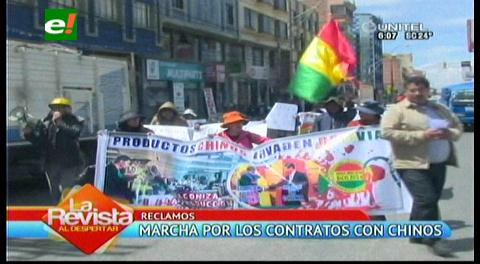 El Alto: Microempresarios marchan contra el convenio del Gobierno con China