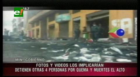 Policía aprehende a cuatro personas más por la quema de la Alcaldía de El Alto