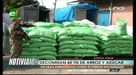 Interceptan arroz y azúcar ilegal valuada en $us 10.000