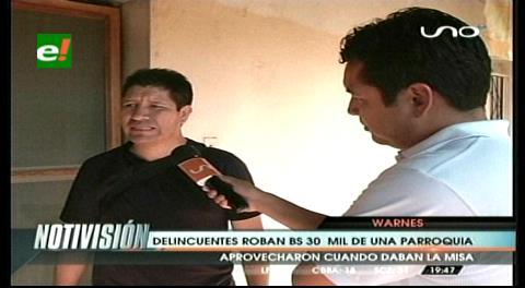Roban 28.000 bolivianos de una Iglesia en Warnes