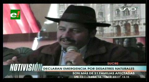 Chuquisaca se declara en estado emergencia por desastres naturales