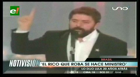 """Lula dijo en 1988: """"Cuando un pobre roba, va a la cárcel, pero cuando un rico roba, se convierte en ministro»"""