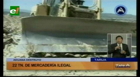 Tarija: Aduana destruyó 22 toneladas de alimentos de procedencia ilegal