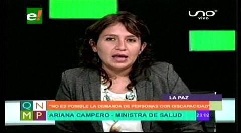Ministra Campero llama al diálogo a los discapacitados pero dice que no es posible su demanda