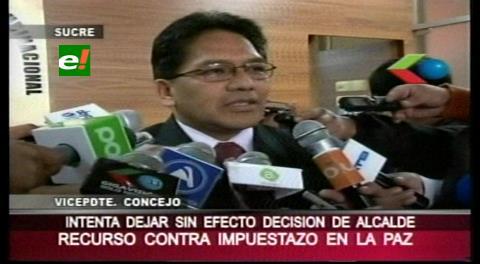 Concejal Jorge Silva presenta recursos contra leyes municipales de La Paz