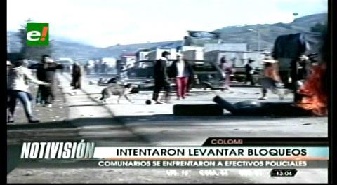 Continúa el bloqueo en Colomi tras intervención policial