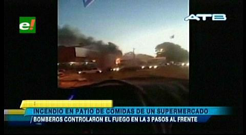 Bomberos sofocan incendio en el patio de comidas de un supermercado