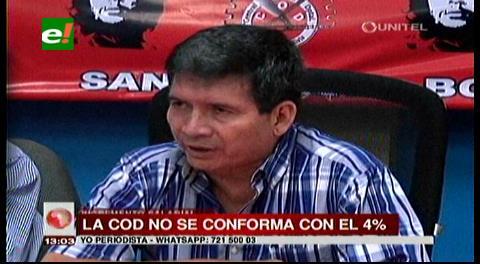 """COD de Santa Cruz: Rechazan incremento del 4% y lo califican de """"insuficiente"""""""