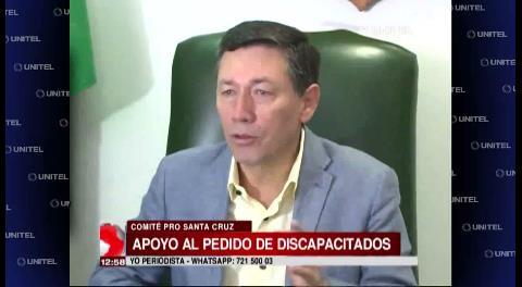 Comité Pro Santa Cruz pide al Gobierno oír a los discapacitados