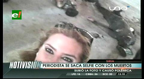 """La """"selfie"""" sonriente de la periodista siria junto a muertos en Aleppo"""