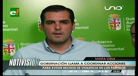 Gobernación cruceña convoca a clubes de fútbol y autoridades para evitar incidentes entre barras
