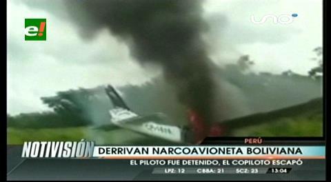 En Perú interceptan y destruyen avioneta boliviana con al menos 70 kilos de cocaína
