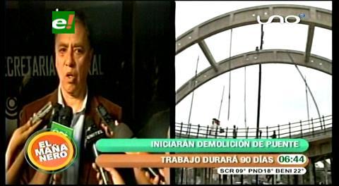 Cochabamba: Inician demolición de plataforma del puente