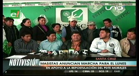 El MAS anuncia dos marchas en apoyo a Evo en Santa Cruz