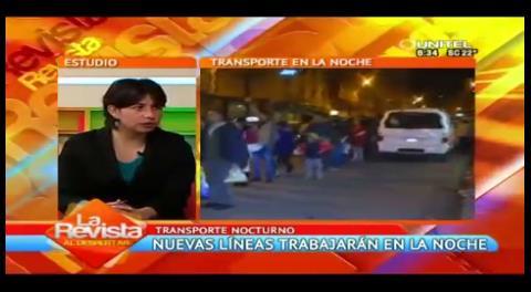 La Paz: Nuevas líneas de transporte nocturno se implementarán hoy