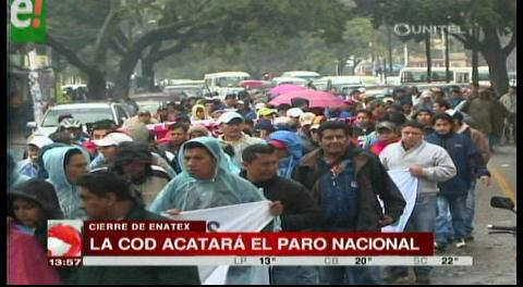 La COD de Santa Cruz acatará paro nacional