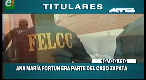 Titulares de TV: Fiscalía dijo que Ana María Fortún era parte del caso Zapata