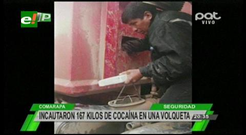 Felcn incauta 167 kilos de cocaína ocultas en una volqueta