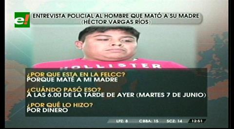 Entrevista policial al sujeto que mató a su madre