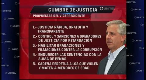 Estas son las propuestas presentadas por García Linera en la Cumbre de Justicia