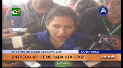 Gobierno asegura que entregó 300 ítems de salud para Santa Cruz