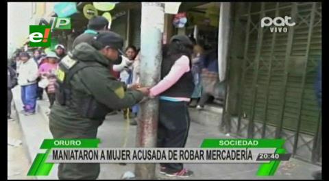 Oruro: Maniataron a una mujer acusada de robar mercadería
