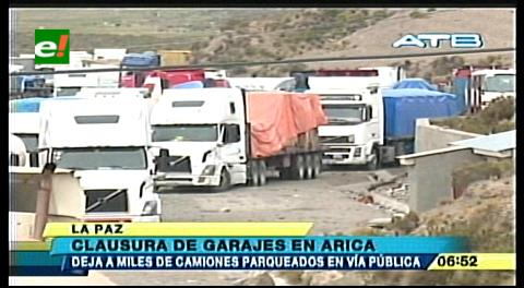 Clausura de garajes en puerto de Arica perjudica a más de 1.500 transportistas bolivianos