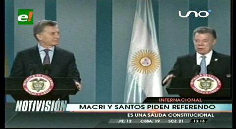 Macri y Santos piden un referendum revocatorio en Venezuela