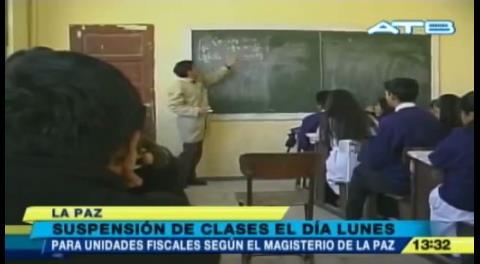 La Paz: Maestros suspenderán clases el lunes
