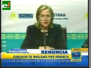 """Fundador de Wikileaks: """"Hillary Clinton debería renunciar"""""""