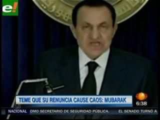"""Mubarak afirma que si renuncia """"habrá caos"""""""
