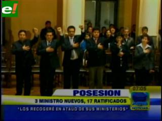 Evo ratifica al 90% de su Gabinete y sólo cambia a tres ministros