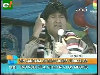 """Evo: """"Medios no lucrarán con las elecciones del órgano judicial"""""""