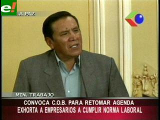 Ministro Santalla convoca a la COB para retomar agenda