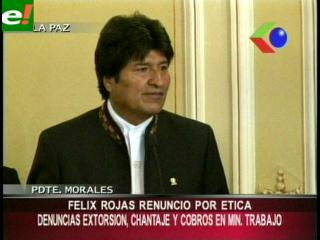 """Evo: """"Rojas renunció por ética y moral"""""""