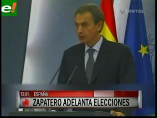 Zapatero adelanta elecciones en España para el 20 de noviembre