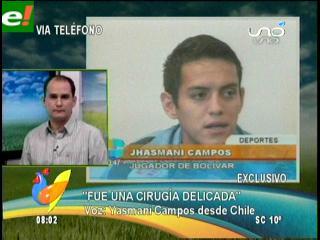 """Jhasmani Campos: """"La cirugía fue todo un éxito, espero debutar en el clásico"""""""