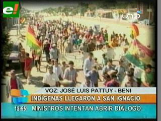 Marcha indígena llega a San Ignacio de Moxos