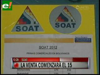 Venta de SOAT 2012 arranca el 15 de diciembre