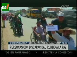 Discapacitados retoman la marcha hacia la ciudad de La Paz