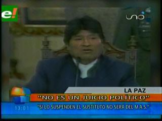 Presidente insta a Rubén Costas a someterse a la ley y asumir su defensa