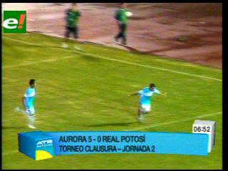 Aurora golea a Real Potosí por 5-0 y es puntero