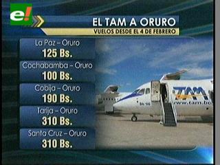 TAM ofrece vuelos de La Paz a Oruro a sólo Bs 125, por las fiestas de Carnaval