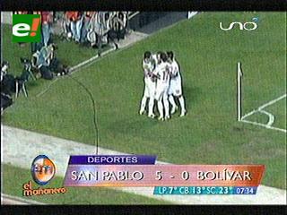 Bolívar pierde 5 a 0 con el San Pablo y está al borde de la eliminación